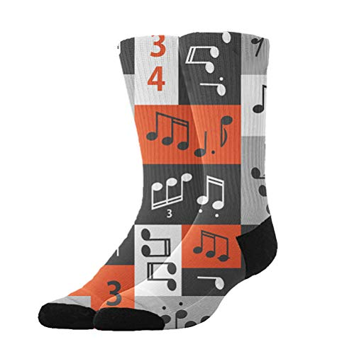 YEAHSPACE Novelty Gifts - Graphic Music Notes - Non Slip Anti-Skid Cotton Casual Athletic Socks,Colorful Fancy Dress Socks for Women Men ()