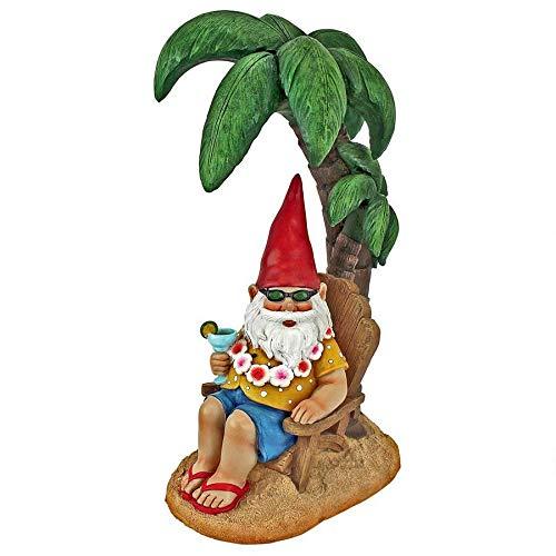 Garden Gnome Statue - Beach Comber Gnome Dude - Outdoor Garden Gnomes - Funny Lawn Gnome Statues (Garden Flower Beach Palm)