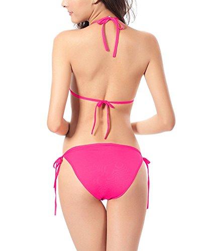 Moollyfox Las Mujeres Empujan Hacia Arriba Del Color Sólido Fija Traje De Baño Bikini Set Rose