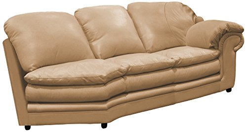 Omnia Leather Santa Barbara Right Arm 2 Cushion Loveseat with Half Curve in Leather, Standard No Nail Head, Softstations Mica