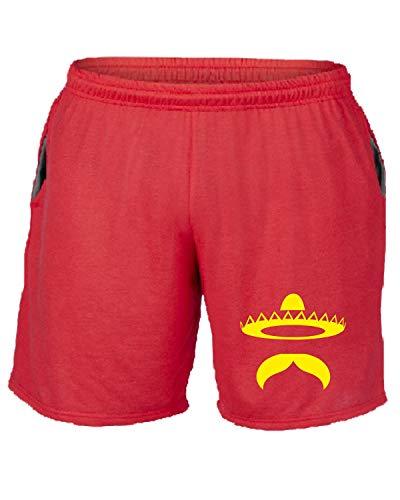 Rosso shirtshock Fun2486 Mustache Tuta T Pantaloncini Mexican BtwqId