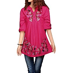 asherfashion bordado Peasant Dressy Tops 3/4 Sleeve mexicano blusa, Rosa