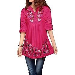 asherfashion bordado Peasant Dressy Tops 3/4Sleeve mexicano blusa, Rosa