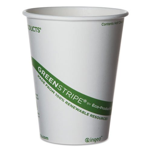 Eco-Products World Art Hot Drink Cups, 12oz, White/Green, 50/Sleeve - Includes 20 sleeves of 50 cups.