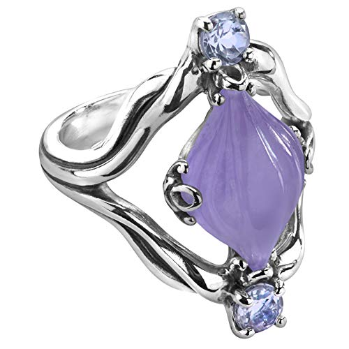 Carolyn Pollack Sterling Silver Purple Jade Gemstone Carved Ring Size 10