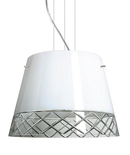 (Besa Lighting 1KV-4340WC-LED-SN 3X6W GU24 Amelia 15 LED Pendant with White/Hand-Cut Glass, Satin Nickel Finish)