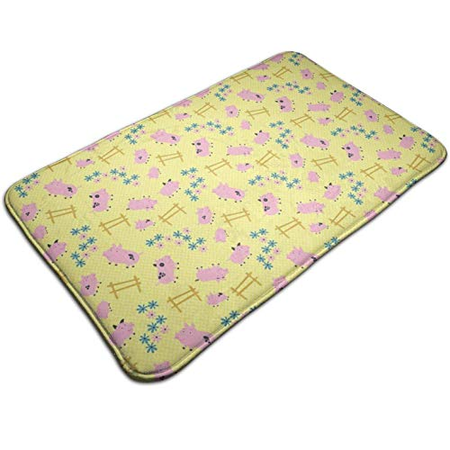 (Tuoneng Pink Pigs,Kitchen Carpet Rug Door Mat Rug for Bathroom Outdoor Porch Laundry Living Multifunction Doormat (19.5