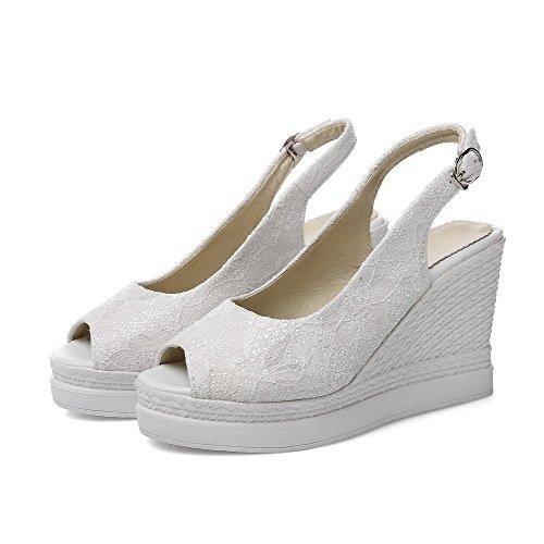 Odomolor Mujeres Peep Tacón Alto Material Suave Sólido Hebilla Sandalias de vestir Blanco