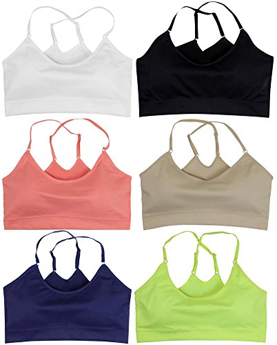 ToBeInStyle Women's Pack of 6 Cross-Back Sports Bras Assorted Colors,One Size
