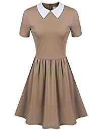 Women's Casual Short Sleeve Doll Collar Dress Peter Pan Collar Work Office Dress