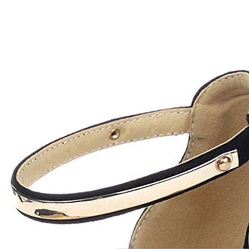 Tobillo Coolcept Negro Zapatos Sandalias Abierta Ancho Al Tacon Punta Moda Mujer atqt1xrwZ6