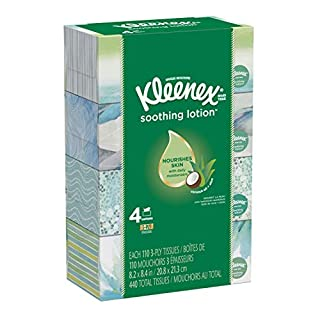 Kleenex Soothing Lotion Facial Tissues, 4 Flat Boxes, 110 Tissues Per Box (440 Tissues Total), Coconut Oil, Aloe & Vitamin E
