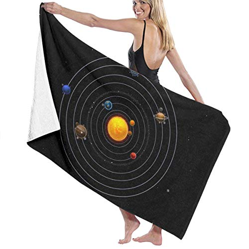 Cooby Roman Microfiber Bath Towel for Daily Use - Solar System Planets Art Quick Dry Super Absorbent Beach Towels for Adults, Swim, Water Sports, SPA and Beach Holidays