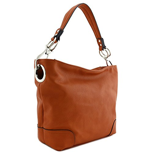 Hobo Shoulder Bag with Big Snap Hook Hardware (Burnt Orange) by Alyssa