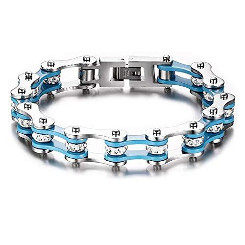 Qiaonitu Jewelry 10mm Unisex Stainless Steel Motorcycle Biker Bike Chain Link Bracelets with Crystal Rhinestones 6.88-8.46 inch (Silver-Blue, 19)