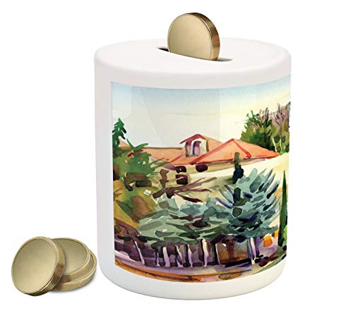 Ambesonne Fine Art Piggy Bank, Tuscany Village Scenery with Cottage House Italian Countryside Trees Artsy Picture, Printed Ceramic Coin Bank Money Box for Cash Saving, Multicolor
