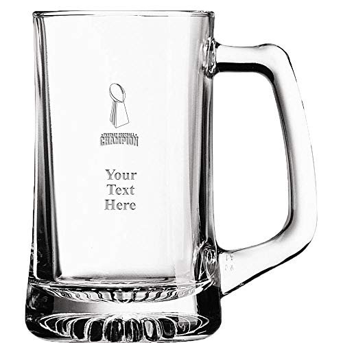 (Fantasy Football Custom Beer Glass Award, 16 oz Personalized Football Champion Beer Mug Gift With Your Own Engraving Text)
