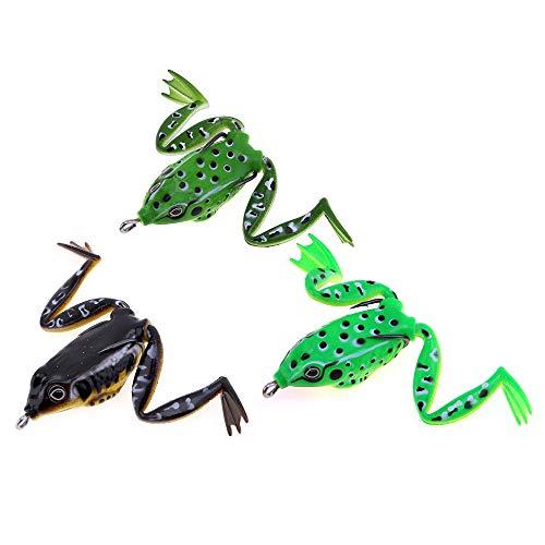 V2AMZ - 5cm / 10g Soft Frog Lure Snakehead Bait Topwater Simulation Fishing Lure 3 Colors Optional