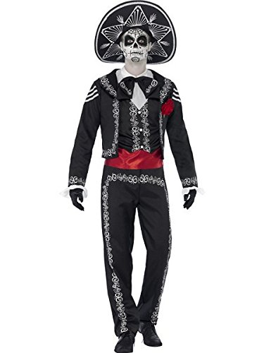 Smiffys Men's Day of the Dead Señor Bones Costume, Jacket, pants, Mock Shirt and Hat, Day of the Dead, Halloween, Size L, -