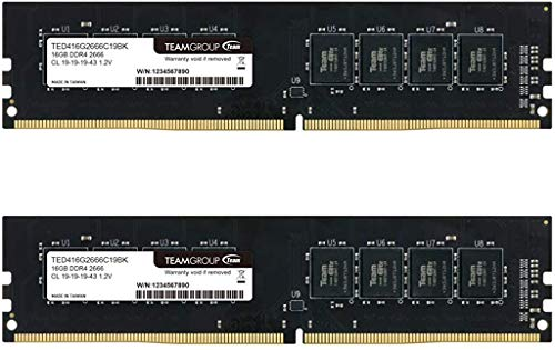 TEAMGROUP Elite DDR4 64GB Kit (2 x 32GB) 2666MHz (PC4-21300) CL19 Unbuffered Non-ECC 1.2V UDIMM 288 Pin PC Computer Desktop Memory Module Ram Upgrade - TED464G2666C19DC01