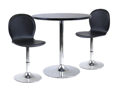 Spectrum 3Pc Dinning Table Set, 29 Round And 2 Swivel Faux L