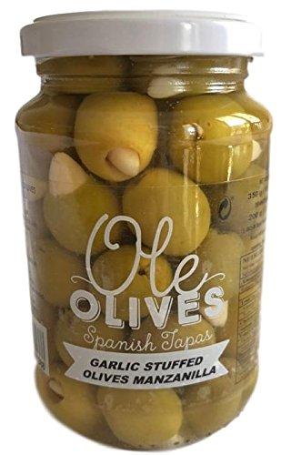 Garlic Olives Stuffed - Ole Olives Stuffed Manzanilla Olives with Garlic, Net Wt 12.35 oz (350g)