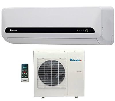 18,000 Btu Klimaire 15 SEER Ductless Mini Split - DC Inverter Air Conditioner & Heat Pump System - 220 Volt with Free 16 Feet Quick Installation Kit