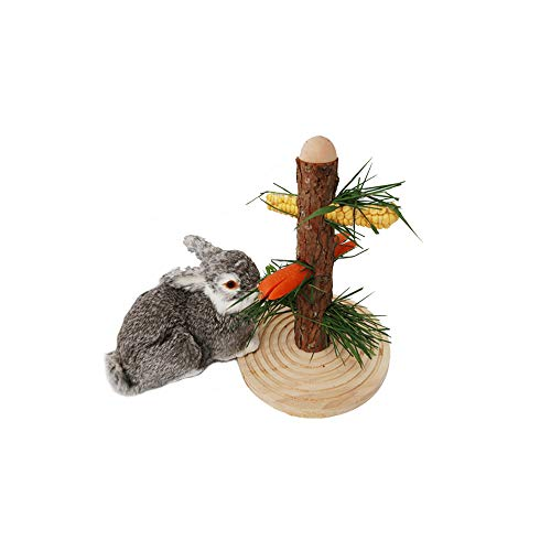 Tfwadmx Rabbit Wooden Platform Toys, Bunny Hay Feeder, Guinea Pig Hay Rack, Removable- Wooden Hay Manger Chew Toy for Rat Hamsters Gerbil Chinchillas Mice Gerbil Bunny