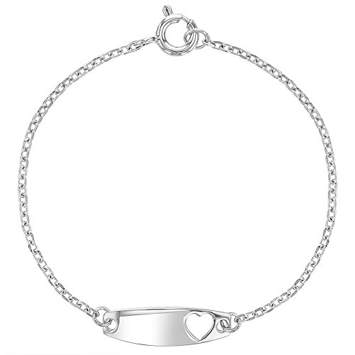 925 Sterling Silver Identification Tag ID Heart Bracelet Toddlers Girls 5