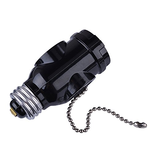 SerBion 4Pack Black E26 the US Standard Screw Light Holder,E26 to E26 Lamp Holder with 2-Prong Cord Outlet Socket Adapter, Pull Chain Switch,Convenient and Practical (4 Pack) by SerBion (Image #3)