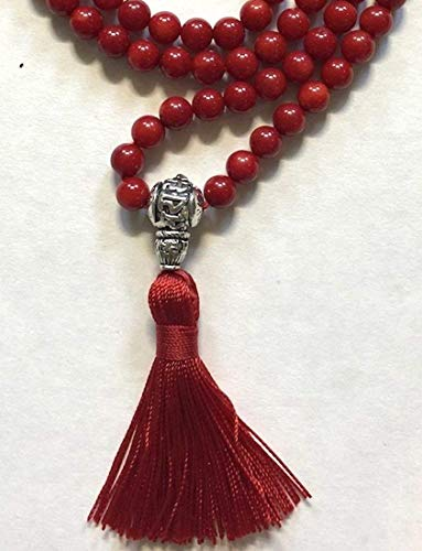 Red coral prayer beads japa mala beads necklace 6mm handmade 108+1 yoga meditation beads. Buddhist karma rosary for nirvana chanting om awakening chakra kundalini -Free mala pouch included-USA Seller