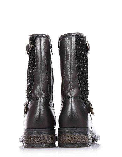 FLORENS - Bottine noire en cuir et suède, avec fermeture éclair latérale, boucle décorative, application de strass noirs sur la jambière, Fille, Filles, Femme, Femmes