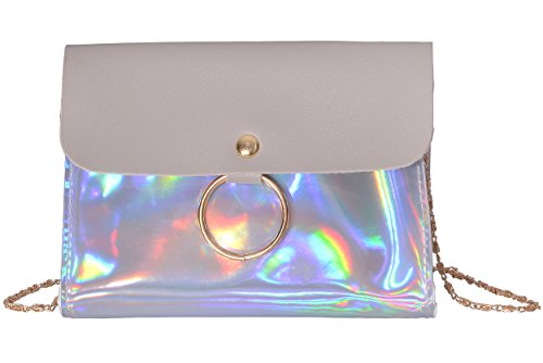 Outrip Women's Evening Bag Clutch Purse Glitter Party Wedding Handbag with Chain (Style2 - Gray)