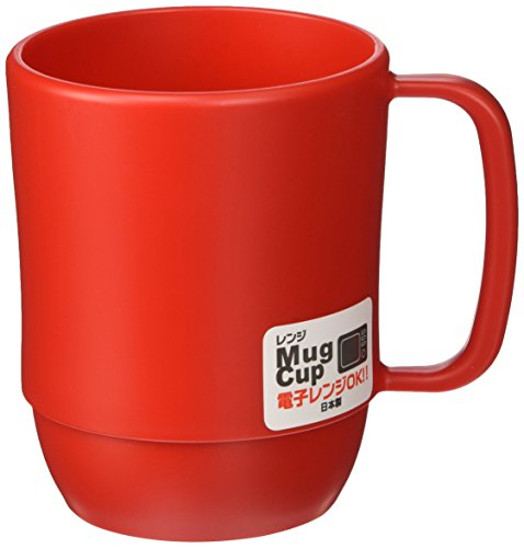 JapanBargain S-3091 Japanese Plastic Microwavable Water Mug, 12 oz., Red