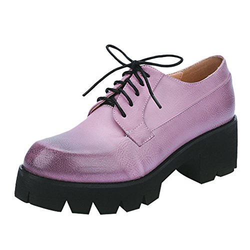 Ronde Escarpins Derbies Bout Chaussures Oxford Plateformes Femmes Violet MissSaSa 1ZqOH