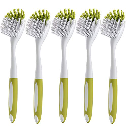 CLNER Scrub Brush for Dishes Kitchen Sink Bathroom Cleaning with Stiff Bristles Built-in Scraper Comfortable Handle, Yellow-green, 5pcs ()