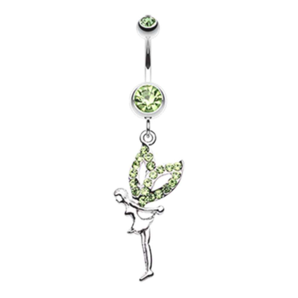 Multiple Colors 14 GA Fairy Dazzle Belly Button Ring 316L Surgical Stainless Steel Body Piercing Jewelry For Women and Men Davana Enterprises