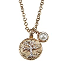 2 Tone Hammered Tree Of Life Pendant in a Rolo Chain Necklace With Imitation Pearl Cabochon