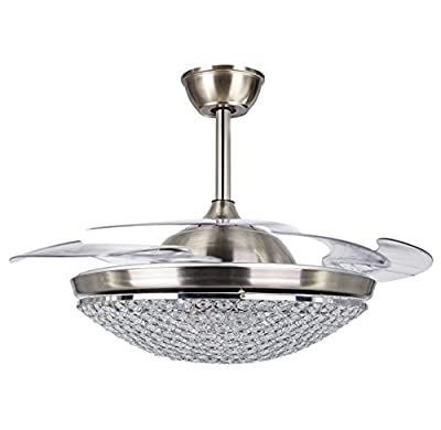 Hall of Lamp Modern Ceiling Fans with Lights 42 Inch 4 Retractable Blades LED Chandelier Ceiling Fan Remote Control, Chrome Finished