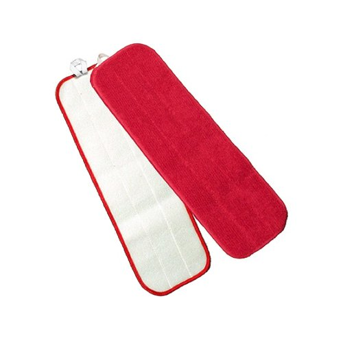 Microworks 2504-MFFP-18R-DZ Microfiber Flat Mop, 18'', Red with Velcro Back (Pack of 12)