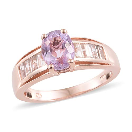 925 Sterling Silver Vermeil Rose Gold Plated Oval Kunzite Zircon Ring for Women Size 7 Cttw - Wedding Rings Tuscan