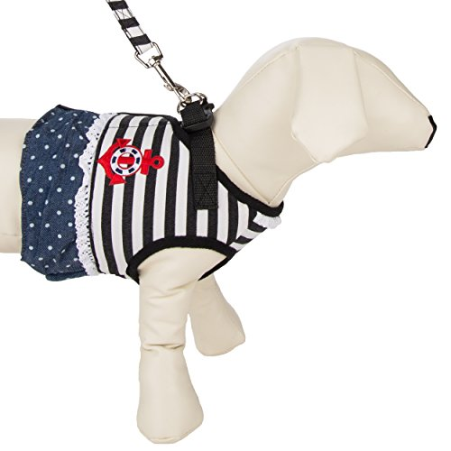 Cue Cue Pet's Little Miss Sailor Pet Vest Harness [Small] w/ Included Leash Ideal for Dogs, Cats, Pet's