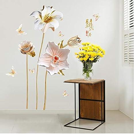 PANDABOOM Adesivo da Parete Fiore Orchidea Vinile Decorativo ...