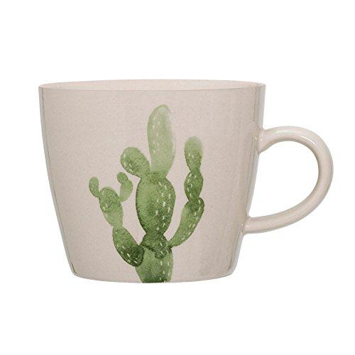 Cream Coffee Mug - Bloomingville A21106761 Jade Mug with Cactus, 8 oz, Cream with Green