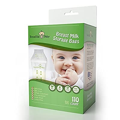 Bonafide Baby 110 Count Breastmilk Storage Bags - Nontoxic Marker - BPA/BPS Free