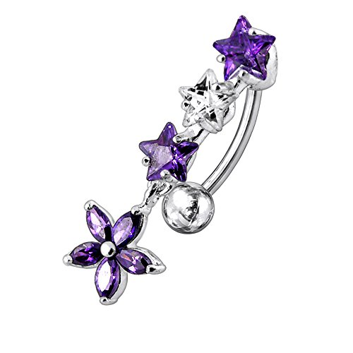 one Triple Star with Flower Dangling Reverse Bar 925 Sterlingl Silver Belly Ring Body jewelry ()