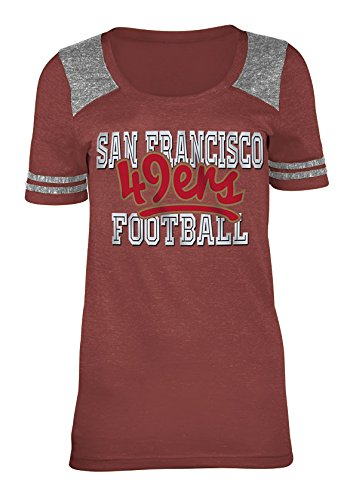 (A-Team Apparel NFL San Francisco 49ers Women's Tri-Blend Jersey Scoop Neck Tee, Small, Red)