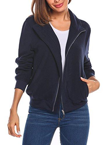 bubblebelle Women's Fleece Coat Full-Zip Stand Collar Bomber Jacket Navy Blue XL