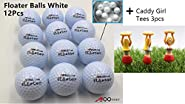 A99Golf 12pcs White Floating Golf Balls Floater Ball Float Water Range + 3pcs Caddy Girl Tees Gift Tees
