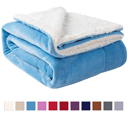 Nanpiper Sherpa Blanket Warm Blankets for Winter Super Soft Fuzzy Flannel Fleece/Wool Like Reversible Velvet Plush Couch Blanket (Sky Blue Throw Size 50